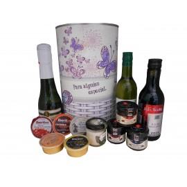 Lata con abre fácil con productos gourmet para regalo mujer