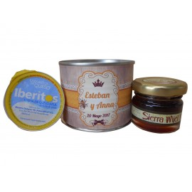 Lata con miel y crema de queso azul en lata
