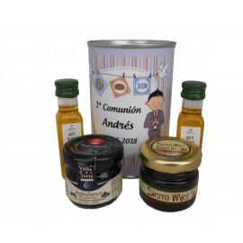 Lata con aceite de Oliva Virgen extra, mermelada y miel