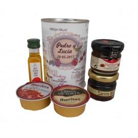Aceite de Oliva Virgen extra con crema de jamón, crema de torta, mermelada y miel en lata