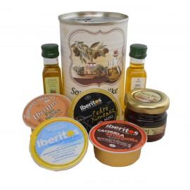 Lata con Aceite de Oliva Virgen extra, Aceite de Oliva Virgen ecológica, miel, paté y tarrina de queso azul