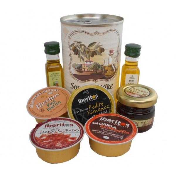 Lata con Aceite de Oliva Virgen extra, Aceite de Oliva Virgen ecológica, miel, paté y tarrina de crema de jamón
