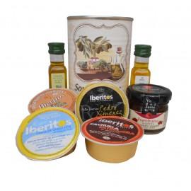 Lata con Aceite de Oliva Virgen extra, Aceite de Oliva Virgen ecológica, mermelada, paté y queso azul
