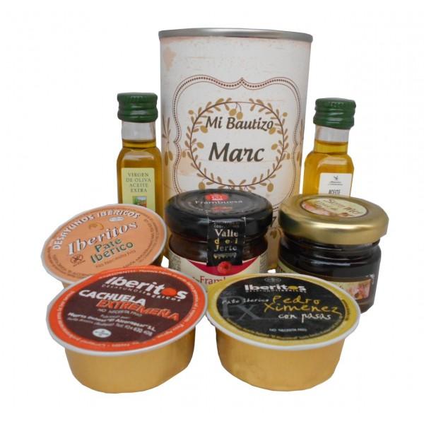 Lata con Aceite de Oliva Virgen extra, Aceite de Oliva Virgen ecológica, mermelada, miel y paté