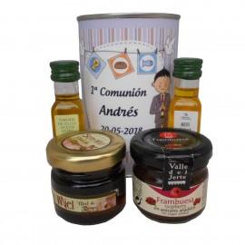 Lata con Aceite de Oliva Virgen extra, Aceite de Oliva Virgen ecológica, mermelada y miel