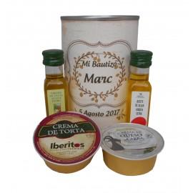 Lata con Aceite de Oliva Virgen extra, Aceite ecológica, queso de torta y queso de cabra