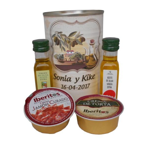 Lata con Aceite de Oliva Virgen extra, Aceite de Oliva Virgen ecológica, queso de torta y crema de jamón