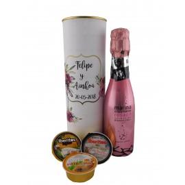 Lata PERSONALIZADA con Marina Espumante rosado, Paté de atún, Paté de Bacalao con ajo y pastel de cabracho