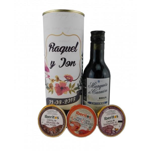 Lata con vino tinto Marqués de Carrión crema de morcilla, crema de lomo curado y cema de salchichón