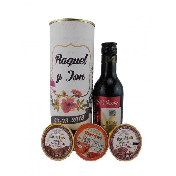 Lata con vino tinto Pata Negra Crianza crema de morcilla, crema de lomo curado y cema de salchichón