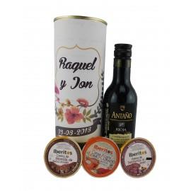 Lata PERSONALIZADA con vino Antaño tempranillo con crema de morcilla, crema de lomo curado y crema de salchichón