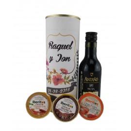 Lata PERSONALIZADA con vino tinto Antaño tempranillo con crema de chorizo a la sidra, crema de lomo curado y crema de morcilla