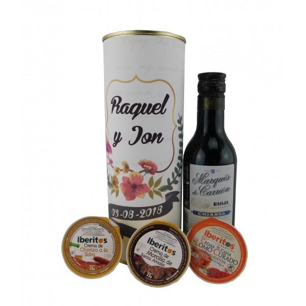 Lata con vino tinto Marqués de Carrión con crema de chorizo a la sidra, crema de lomo curado y crema de morcilla
