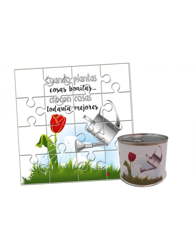 """Puzzle con la frase """"Cuando plantas cosas bonitas…crecen todavía cosas mejores"""" en lata"""