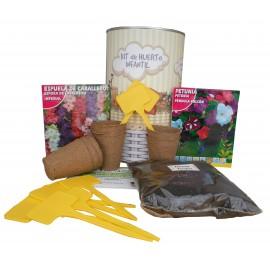 Kit de huerto infantil con semilleros, tierra turba, Petunia, Espuela de Caballero y marcaje de semilleros
