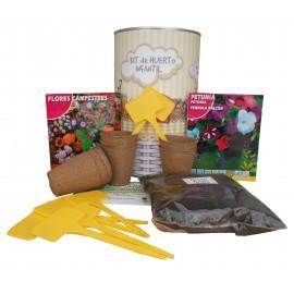 Kit de huerto infantil con semilleros, tierra turba, Petunia, flores Caspestres y marcaje de semilleros