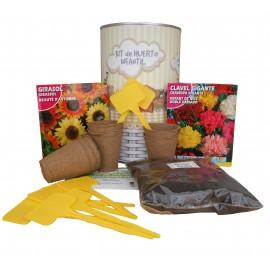 Kit de huerto infantil con semilleros, tierra turba, semillas Girasol, semillas Clavel Gigante y marcaje de semilleros
