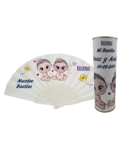 Abanico sin personalizar de varillas de plástico BAUTIZO bebe rosa gemelas en lata personalizada