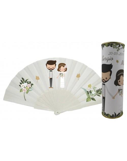 Abanico de varillas de plastico sin personalizar novios y flores en lata PERSONALIZADA