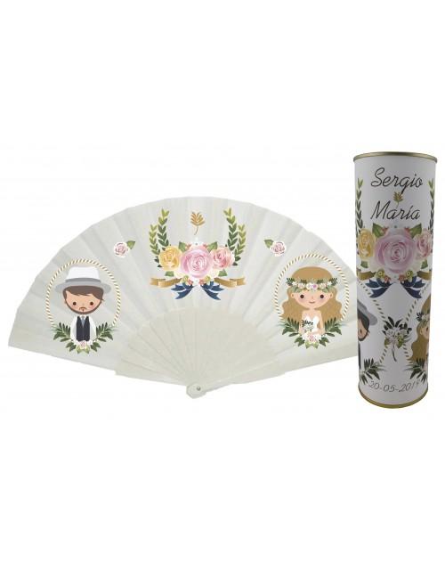 Abanico de varillas de plastico sin personalización de boda novios y rosa en lata PERSONALIZADA
