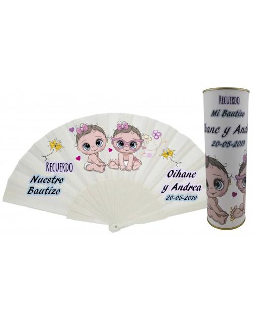 Abanico de varillas de plástico PERSONALIZADO bautizo niñas gemelas en lata