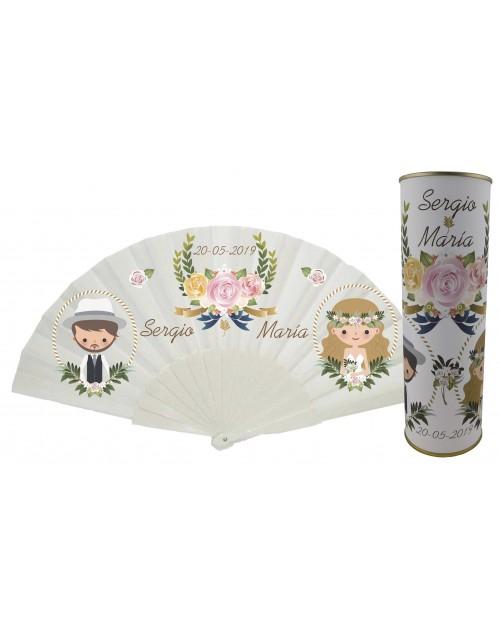 Abanico de varillas de plastico PERSONALIZADO de boda novios y rosa en lata