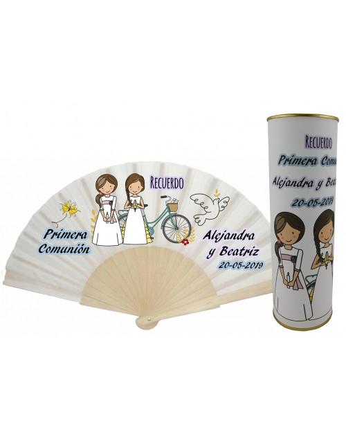 Abanico de varillas de madera PERSONALIZADO Comunión niñas rezando y con vela en lata