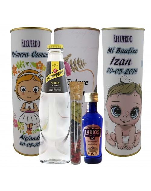 Pack de Gin Tonic Schweppes ORIGINAL con ginebra LARIOS 12 años en lata PERSONALIZADA