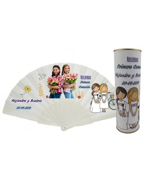 Abanico varillas de plastico PERSONALIZADO con foto y texto de Comunión dos niñas en lata