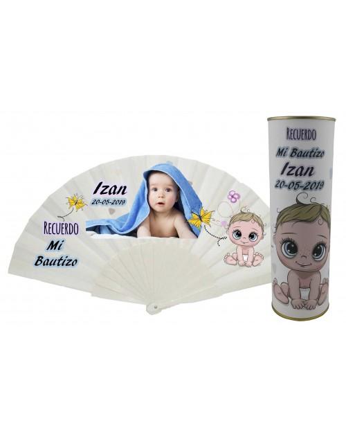 Abanico de varillas de plastico de Bautizo niño PERSONALIZADO con foto y texto en lata