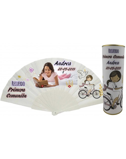 Abanico varillas de plastico PERSONALIZADO con foto y texto de Comunion niña con bicicleta en lata
