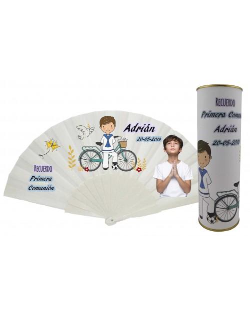 Abanico varillas de plastico PERSONALIZADO con foto y texto de Comunion niño rezando en lata