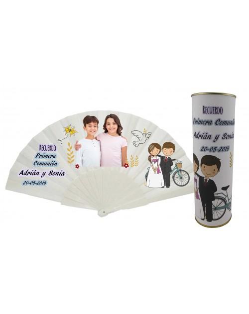 Abanico varillas de plastico PERSONALIZADO con foto y texto de Comunion niño y niña en lata