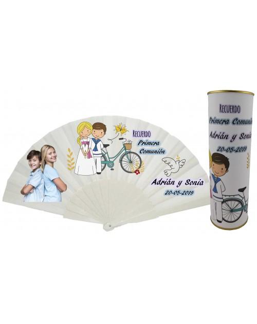 Abanico varillas de plastico PERSONALIZADO con foto y texto de Comunion niño marinero y niña rubia en lata