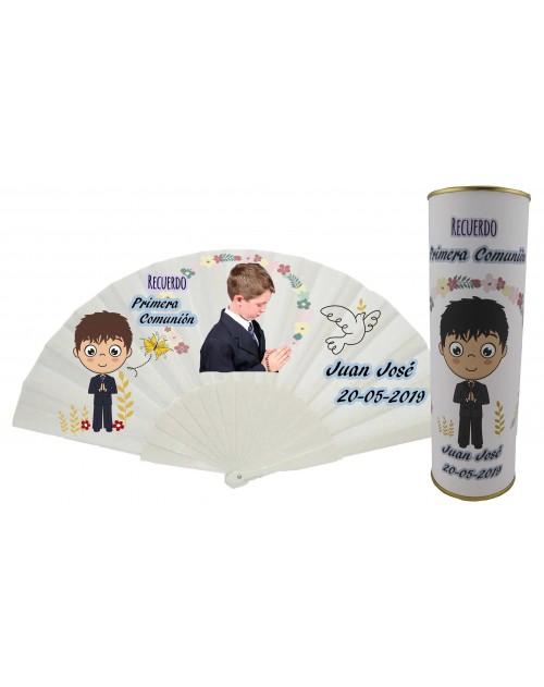 Abanico varillas de plastico PERSONALIZADO con foto y texto de Comunion niño con rezando y paloma en lata