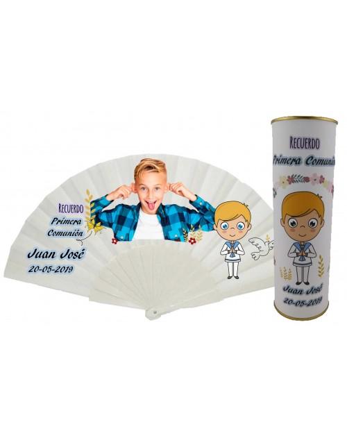 Abanico varillas de plastico PERSONALIZADO con foto y texto de Comunion niño rubio en lata