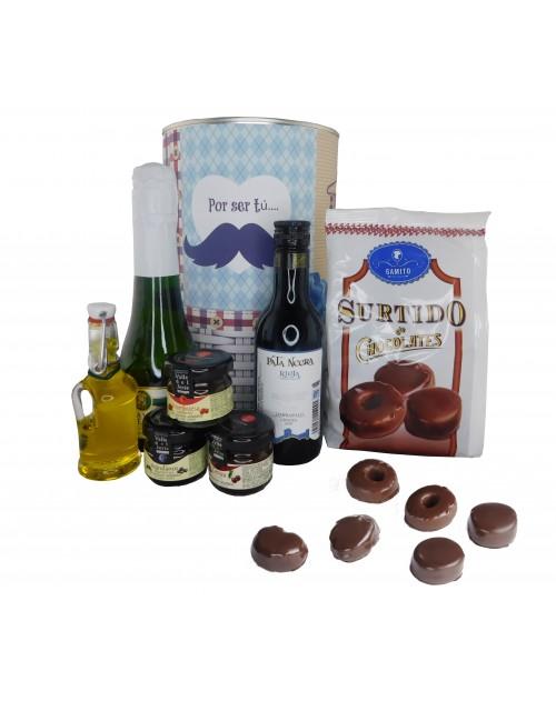 Lata PERSONALIZADA con cava, vino tinto, mermeladas, aceite virgen extra y surtido de chocolate