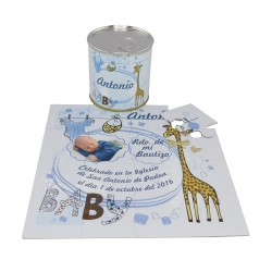 Recordatorio Bautizo niño puzzle jirafa con foto y texto en lata personalizada