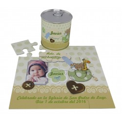 Recordatorio Bautizo niño puzzle con foto y texto botones en lata personalizada