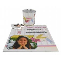 Recordatorio Comunión niña puzzle con foto y texto espiga en lata personalizada