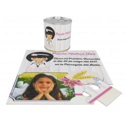 Recordatorio Comunion niña en puzzle con texto en lata personalizada