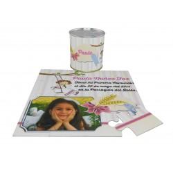 Recordatorio Comunion niña columpio en puzzle con texto y foto en lata personalizada