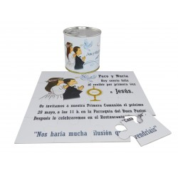 Invitacion Comunion niña y niño rezando en puzzle con texto en lata personalizada