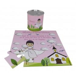Recordatorio de Comunion niña paloma con Iglesia puzzle con lata personalizada