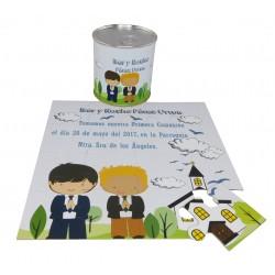 Recordatorio de Comunion niños con Iglesia en puzzle con lata personalizada