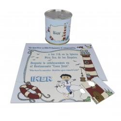Invitación de comunion niño paloma y faro en puzzle con lata