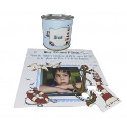 Recordatorio Comunion niño con foto y texto faro en puzzle con texto y foto en lata personalizada