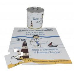 Invitacion Comunion niño con paloma y faro en puzzle con texto en lata personalizada