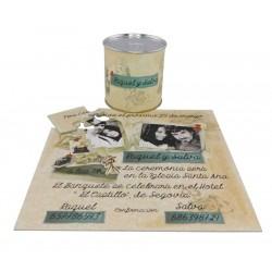 Invitacion de boda con fotografía y texto en lata personalizada