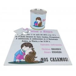 Invitacion de boda besos novios en lata personalizada